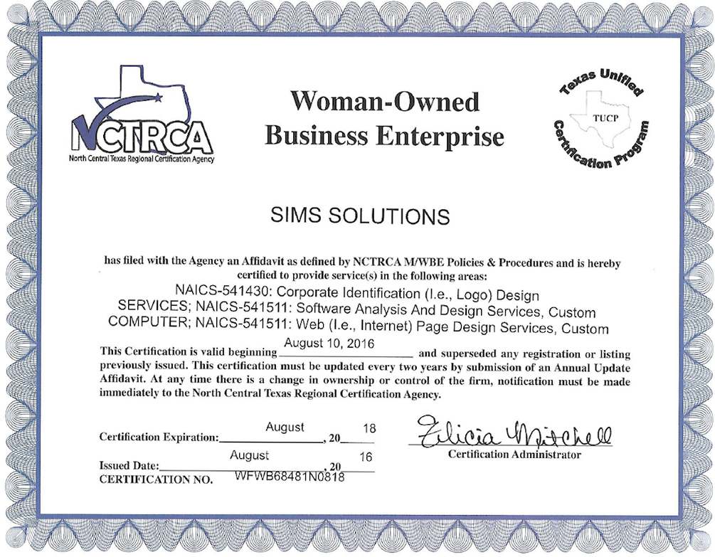 Sims Solutions is a Woman Owned Business | www.simssolutions.com | www.simssolutionsww.com