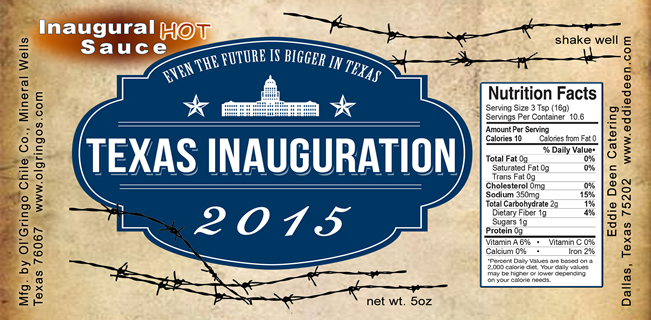 Texas Inauguration Label